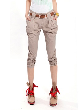 Solid Color Pleated Cropped Pants