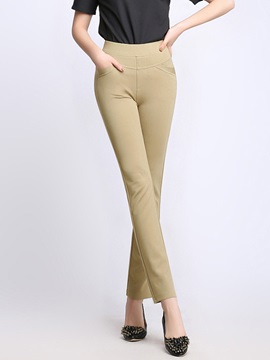 Slim Solid Color Casual Pants