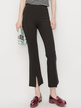 Black Slim Placketing Pants