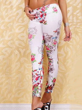 Vogue Flower and Letter Printed Leggings