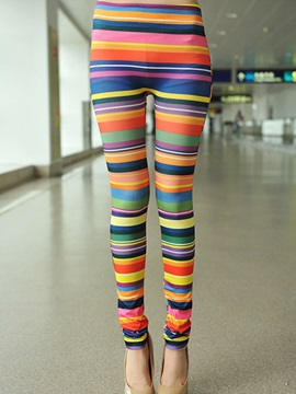 Multicolor Stripe Designed Leggings
