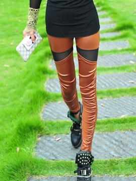 Slimming PU Mesh Patchwork Leggings