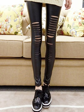 Chic Cotton Hole Designed Leggings