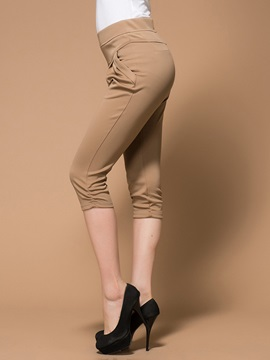 Solid Color High Waist Cropped Pants