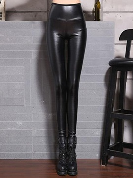 High Waist Leather Black Leggings