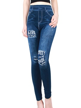 Letter Printed Denim Jeans Leggings