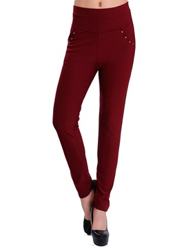 High Waist Bead Decorated Slim Leggings