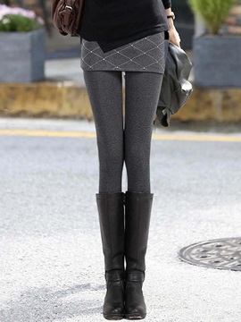 Solid Color Winter Skirt Leggings