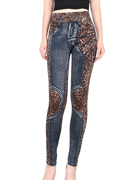High Waisted Leopard Grain Patchwork Women's Leggings