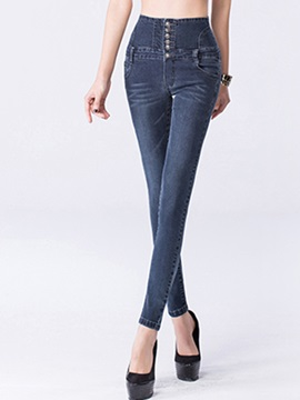 Slimming High-Waist Button Decorated Pencil Jean