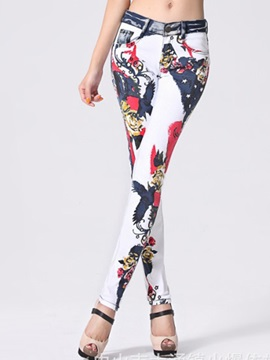 Multicolor Printing Curve-Fit Pencil Jean