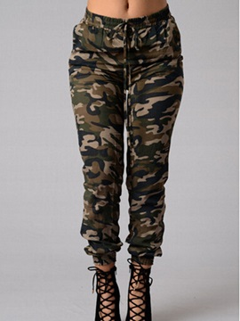 Vogue Camouflage Printing Ruched-Hem Jean