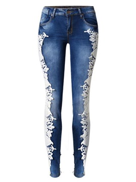 White Lace Patchwork Jeans