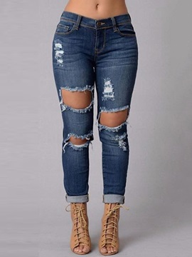 Hollow Denim Ripped Worn-Out Jeans