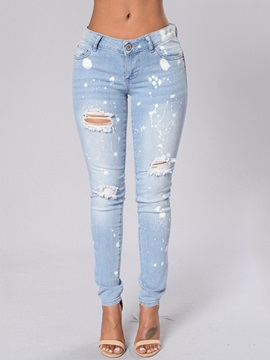 White Dots Printed Ripped Denim Jeans