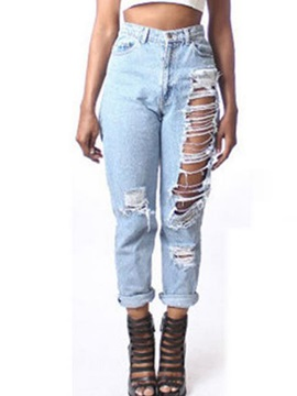 Ripped Hollow-Out Denim Jeans