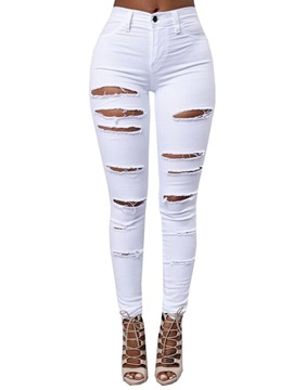 Solid Color Ripped Plus Size Jeans