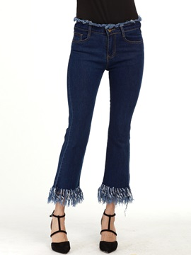 Skinny Plain Tassel Bellbottoms Jeans