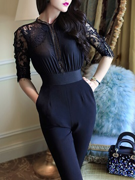 Black Half Sleeve Back Split Lace Jumpsuit