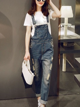 Chic Frayed Destroy Adjustable Strap Overall