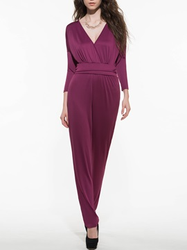 Casual Bat Sleeve Solid Color Jumpsuit
