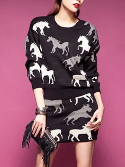 Stylish Animal Printed Long Sleeve Top & Bodycon Skirt