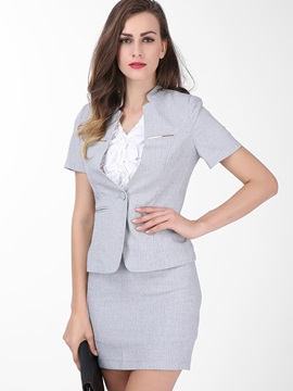 Stylish Cowl-Neck One-Button Blazer & Sheath Skirt