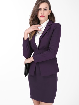 Pure Color Slim One-Button Blazer & Bodycon Skirt