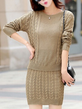 Elegant Pure Color Sweater & Sheath Skirt