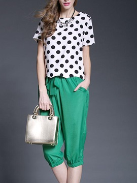 Simple Polka Dots Printing Top & Ruched-Hem Pant