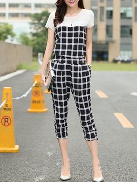 Simple Plaid Designed Patchwork Two-Piece Outfit