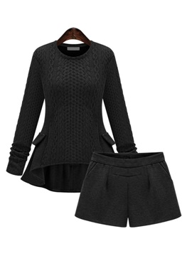 Elegant High-Low Sweater & Pleated Short