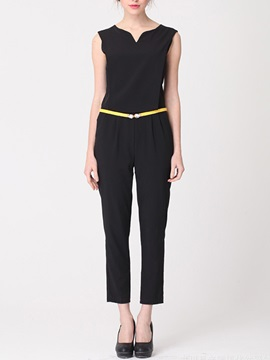 Slimming Cotton Blends Sleeveless Jumpsuit