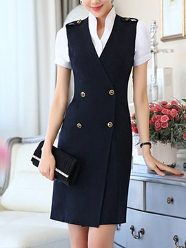 Elegant Button-Front Vest & Stand Collar Shirt
