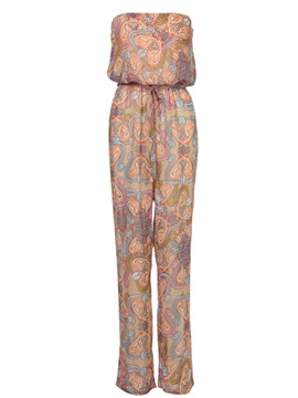 Simple Printing Lace-Up Jumpsuit