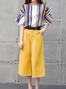 Round-Neck Stripe Top & Wide-Leg Pant