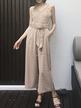 Vogue Plaid Belt-Tied Jumpsuit