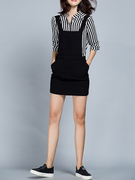 Striped Shirt Black Overalls 2-Piece Sets