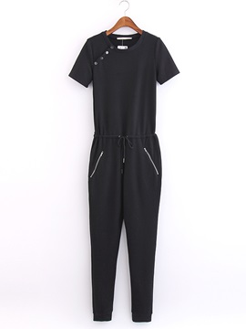 Chic Buttoned Drawstring Jumpsuit