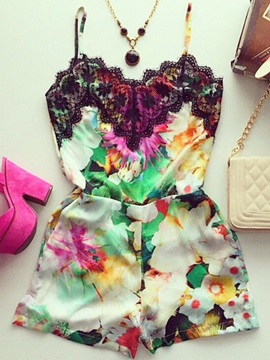 Floral Printing Lace Patchwork Gallus Rompers