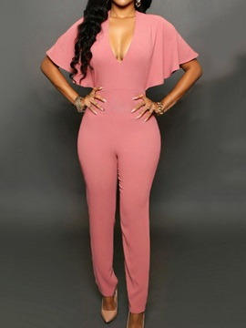 Solid Color Falbala V-Neck Jumpsuit