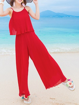 Red Mesh Pleated Gallus Jumpsuit