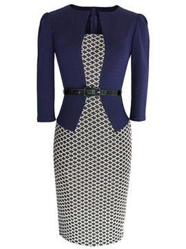 Plaid Printed Belt Wear To Work 2-Piece Sets