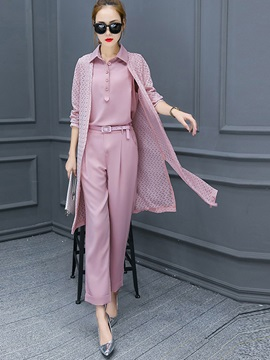 Lapel Top Knitwear Coat Pants Three-Piece Sets