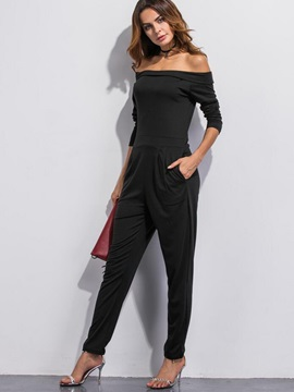 Black Boat Neck Slim Jumpsuit