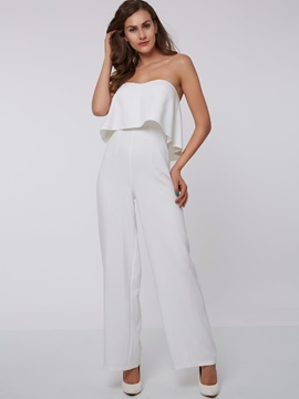 White Strapless Falbala Zipper Jumpsuit