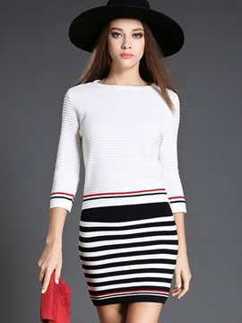 Knitwear Striped Printed Skirt 2-Piece Sets