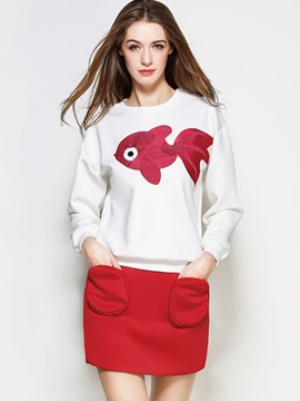 Fish Printed Solid Color 2-Piece Sets