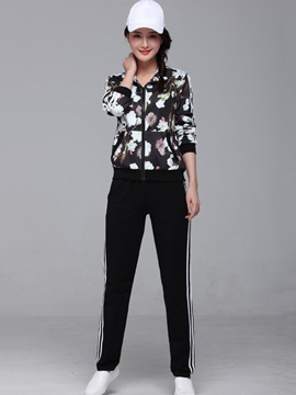 Floral Printing Coat Sports Pants 2-Piece Sets