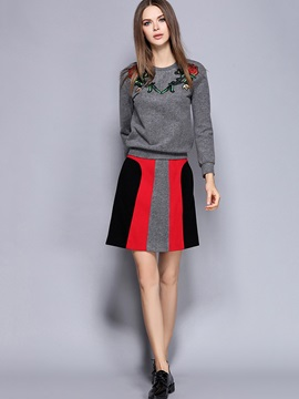 Floral Printing Long Sleeve Winter Top Color Block Skirt 2-Piece Sets